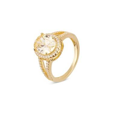 Argento Gold Imperial Yellow Crystal Ring  - Click to view larger image