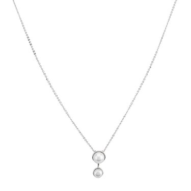 Argento Silver Double Pearl Necklace - 925 Silver
