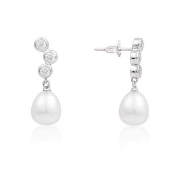 Argento Silver + Crystal Pearl Earrings  - Click to view larger image