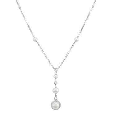 Argento Silver Pearl Bead Necklace  - Click to view larger image