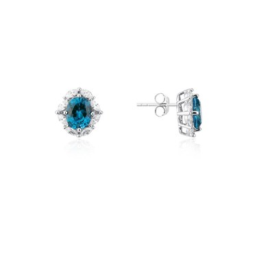 Argento Silver Imperial Blue Oval Earrings  - Click to view larger image