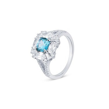 Argento Silver Imperial Blue Square Ring  - Click to view larger image