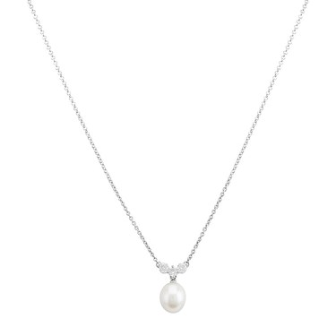Argento Silver Crystal + Pearl Drop Necklace  - Click to view larger image