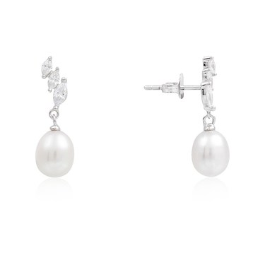 Argento Silver Asymmetric Crystal Pearl Earrings  - Click to view larger image