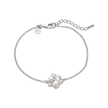 Argento Silver Pearl + Crystal Bracelet  - Click to view larger image