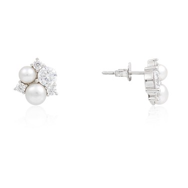Argento Silver Pearl + Crystal Earrings  - Click to view larger image