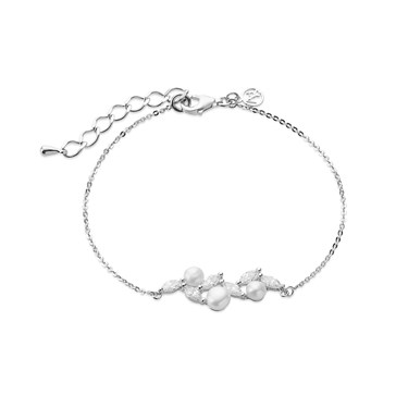 Argento Silver + Crystal Pearl Bracelet  - Click to view larger image