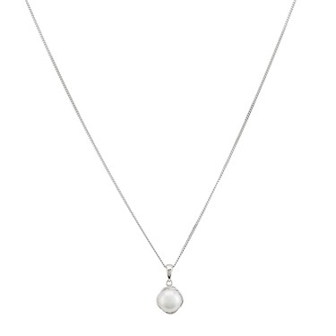 Argento Silver Button Pearl Necklace - 925 Silver