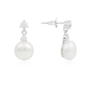 Argento Silver Button Pearl crystal Earrings  - Click to view larger image