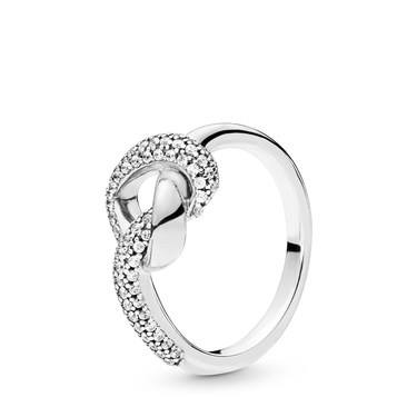 Pandora Crystal Knotted Heart Ring  - Click to view larger image