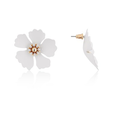 Dirty Ruby White + Gold Floret Stud Earrings  - Click to view larger image