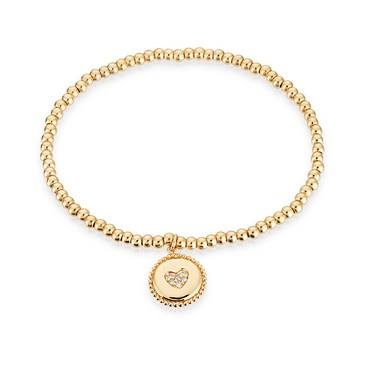 Karma Gold Heart Stretch Bracelet  - Click to view larger image