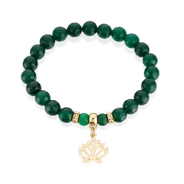 Karma Green + Gold Lotus Stretch Bracelet  - Click to view larger image
