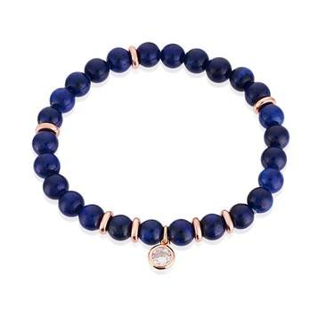Karma Blue + Rose Gold Stretch Bracelet  - Click to view larger image