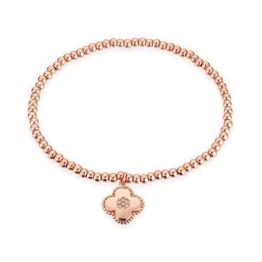 Karma Rose Gold Clover Stretch Bracelet  - Click to view larger image