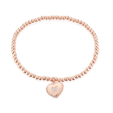 Karma Rose Gold Heart Stretch Bracelet  - Click to view larger image