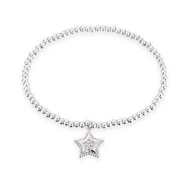 Karma Silver Star Stretch Bracelet  - Click to view larger image