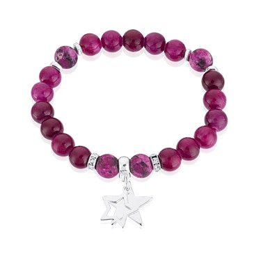 Karma Purple + Silver Stars Stretch Bracelet  - Click to view larger image