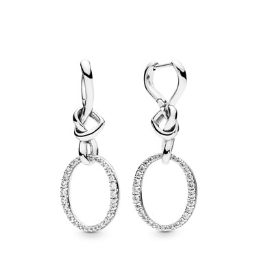 Pandora Knotted Hearts Drop Earrings  - Click to view larger image