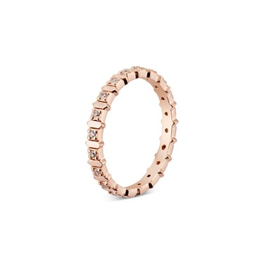 Argento Rose Gold Rectangle Crystal Stacking Ring   - Click to view larger image