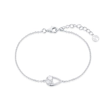 Argento Silver Crystal Teardrop Bracelet   - Click to view larger image