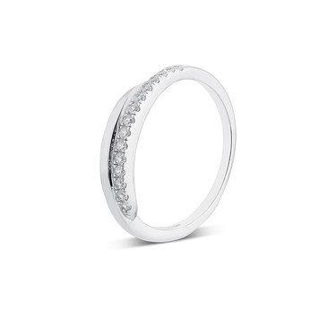 Argento Silver Crystal Twist Stacking Ring   - Click to view larger image