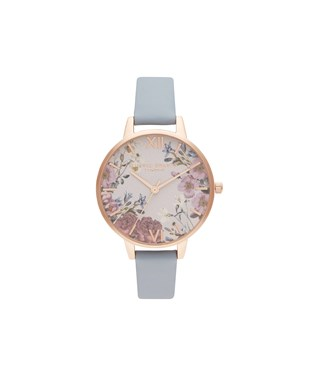 Olivia Burton Floral Blooms Chalk Blue + Rose Gold Watch  - Click to view larger image