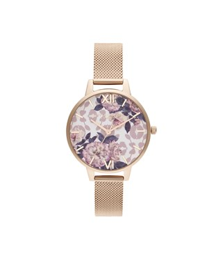 Olivia Burton Wildflower Pale Rose Gold Mesh Watch   - Click to view larger image