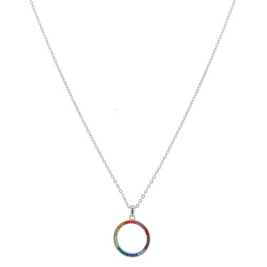 August Woods Silver Rainbow Hoop Necklace  - Click to view larger image