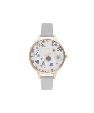 Olivia Burton Artisan Flower Grey + Rose Gold Watch  - Click to view larger image