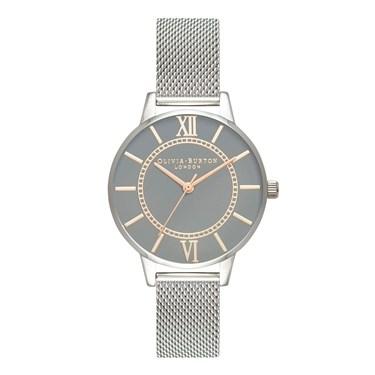 Olivia Burton Wonderland  Grey Dial + Silver Mesh Watch   - Click to view larger image