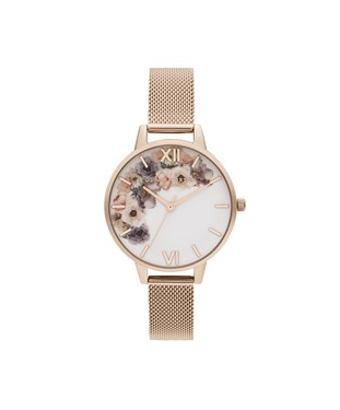 Olivia Burton Watercolour Floral Pale Rose Gold Mesh Watch   - Click to view larger image