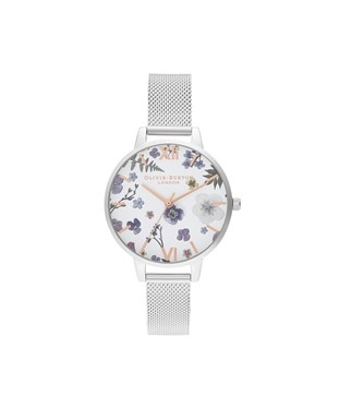Olivia Burton Artisan Flower Silver Mesh Watch  - Click to view larger image