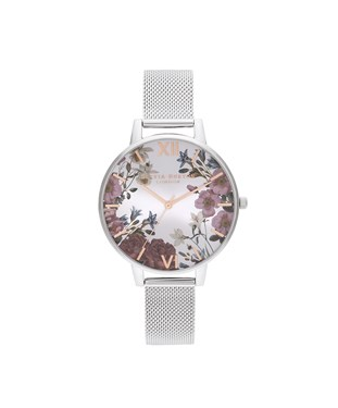 Olivia Burton Floral Bloom Silver Mesh Watch  - Click to view larger image