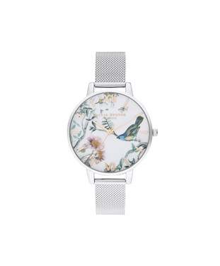 Olivia Burton Painterly Prints Silver Mesh Watch   - Click to view larger image