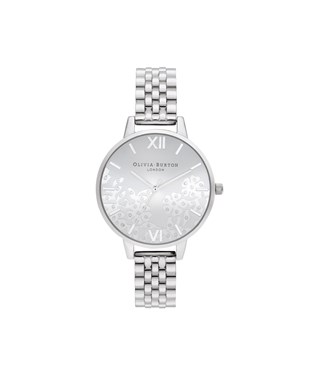 Olivia Burton Bejewelled Lace Silver Bracelet Watch  - Click to view larger image
