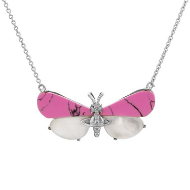 Vivienne Westwood Pink Butterfly Necklace  - Click to view larger image