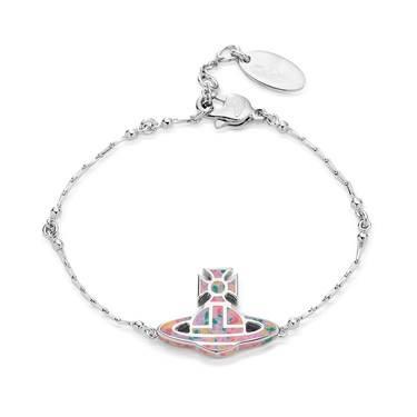 Vivienne Westwood Silver + Pink Celeste Bracelet  - Click to view larger image
