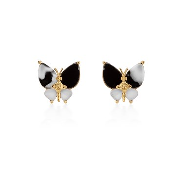 Vivienne Westwood Black + Gold Butterfly Earrings  - Click to view larger image