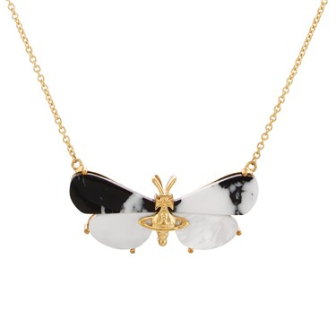 Vivienne Westwood Black + Gold Butterfly Necklace  - Click to view larger image