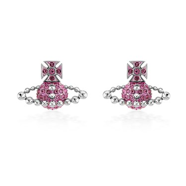 Vivienne Westwood Lena Silver + Pink Earrings  - Click to view larger image