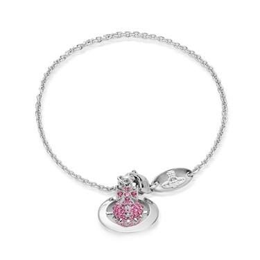 Vivienne Westwood Lena Silver + Pink Orb Bracelet  - Click to view larger image