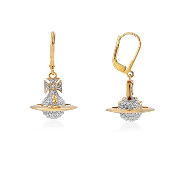 Vivienne Westwood Lena Drop Gold Earrings  - Click to view larger image