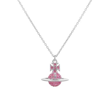 Vivienne Westwood Lena Silver + Pink Small Necklace  - Click to view larger image