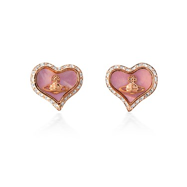 Vivienne Westwood Rose Gold + Pink Petra Earrings  - Click to view larger image
