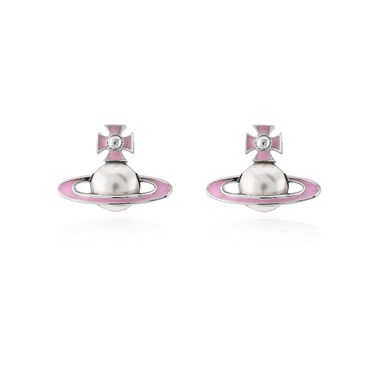 Vivienne Westwood Silver + Pink Iris Bas Relief Earrings  - Click to view larger image