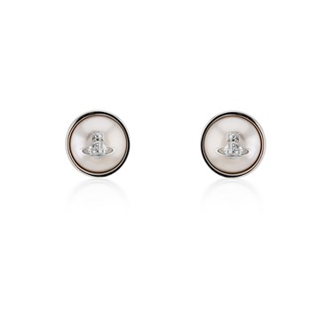 Vivienne Westwood Silver Olga Pearl Earrings  - Click to view larger image