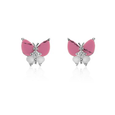 Vivienne Westwood Pink Butterfly Earrings  - Click to view larger image