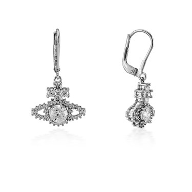 Vivienne Westwood Silver Valentina Orb Drop Earrings  - Click to view larger image