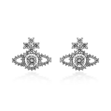 Vivienne Westwood Silver Valentina Orb Earrings  - Click to view larger image